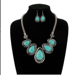 Jewelry - Faux Turquoise Teardrop Necklace & Earrings Set